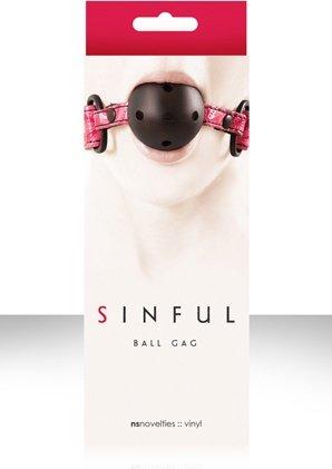 Кляп sinful ball gag виниловый розовый, фото 3