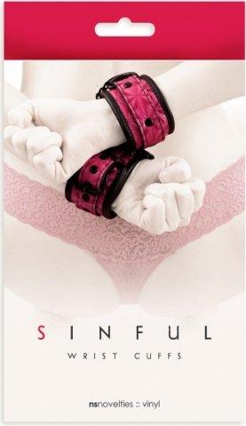 Наручники sinful wrist cuffs, соединенные цепью розовые, фото 2