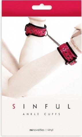Наножники sinful ankle cufs соединенные цепью розовые, фото 2