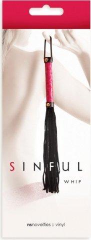 Плетка sinful whip многохостная розовая, фото 2