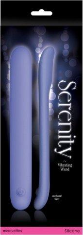 Вибромассажер плоский Serenity - Blue USB из силикона голубой, фото 3