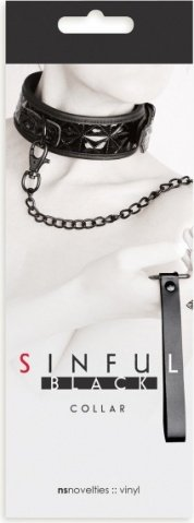 Ошейник sinful collar с цепью-поводком черный, фото 3