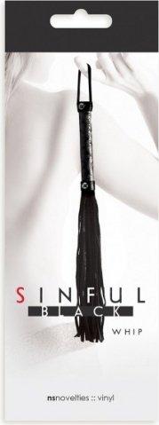 Плетка sinful whip многохостная черная, фото 2