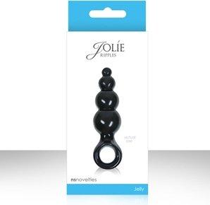 Анальная пробка Jolie - Ripples мини черная, фото 4