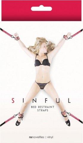 Фиксаторы для кровати Sinful Bed Restraint Straps розовые, фото 2
