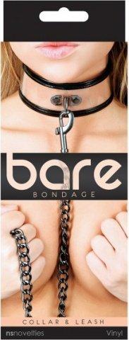 Ошейник с поводком Bare Bondage чёрный с прозрачными вставками, фото 2