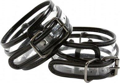 Оковы с карабином Bare Bondage чёрные с прозрачными вставками