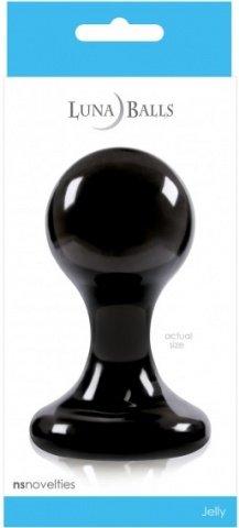 Анальная пробка Luna Balls на присоске большая чёрная, фото 3