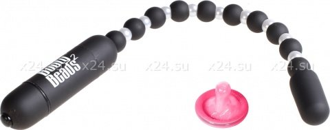 Анальная вибро-цепочка Booty Beads Black черная, фото 2