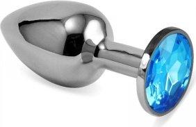 Пробка металлическая под серебро голубой страз