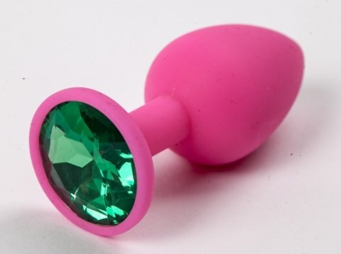 Пробка силиконовая розовая с зеленым стразом