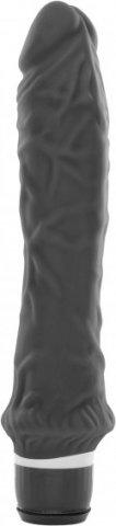Черный рельефный вибратор Silicone Classic (7 режимов) 24 см, фото 5