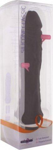Черный рельефный вибратор Silicone Classic (7 режимов) 24 см, фото 6