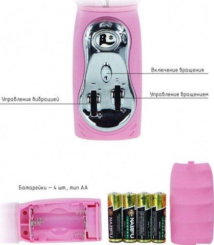 Виброкомпьютер с волновой мультивибрацией и ротацией, розовый, 43 х255 мм, фото 3