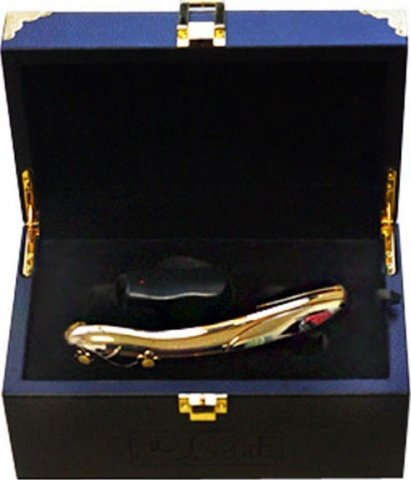 Позолоченный вибратор Фламинго с функцией нагрева, 7 видов вибрации, 45 х175 мм 17 см, фото 5
