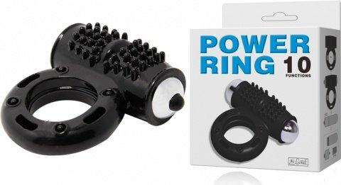 Эрекционное кольцо с клитораальным массажером Power Ring (10 режимов), фото 3