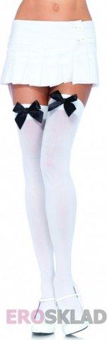 Чулочки с бантиком с красным бантом с белым бантом, цвет Белый с черным бантом, фото 6