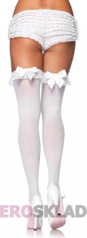 Чулочки с бантом сзади с черным бантом с белым бантом Size, цвет Белый с черным бантом, размер One Size, фото 4