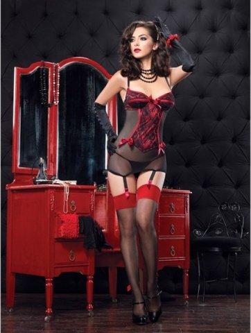 Платье с пажами и стринги A86319- red, фото 2