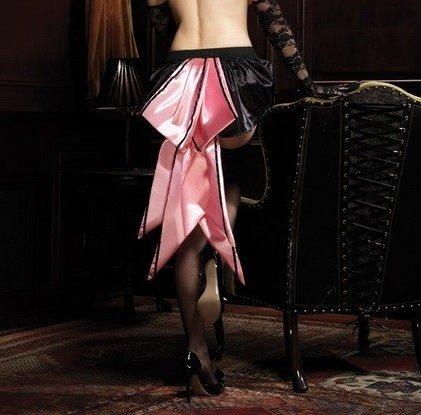 Атласная юбочка, цвет Черно-розовый