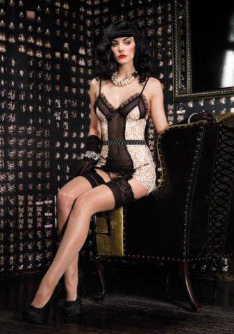 Платье c пажами и стринги LA86501 ivoryBlack