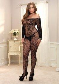 Кэтсьюит в сетку с ажурным украшением и открытыми плечами Queen Size LA89106Qblack