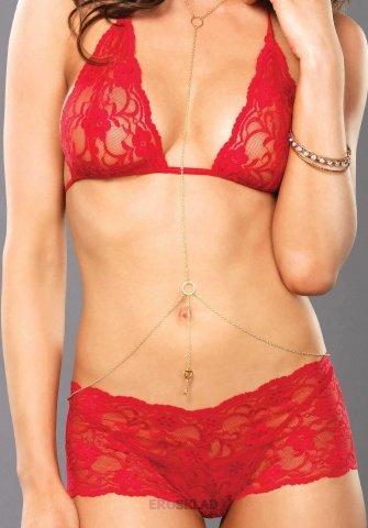 Очаровательный комплект Leg Avenue, цвет Красный, размер M/L, фото 3