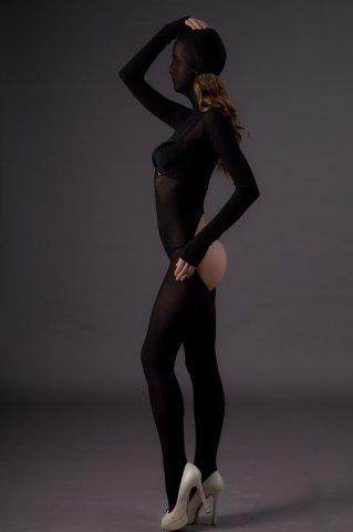 Бдсм-боди с капюшоном (leg avenue), цвет черный, размер one size, фото 2