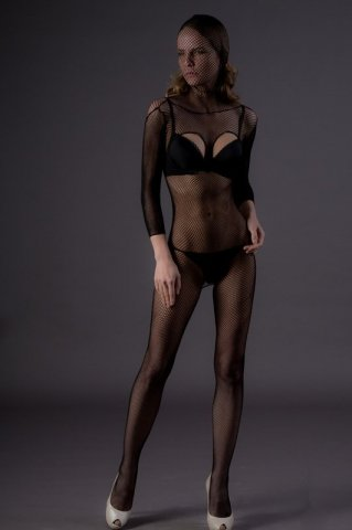 Чулок-сетка на все тело, с вырезами (Leg Avenue), цвет Черный, размер One Size