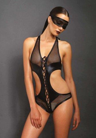 Эротическое боди с маской цвет Черный, размер M/L
