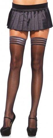 Чулки с широкой каймой Leg Avenue, цвет Черный, размер One Size