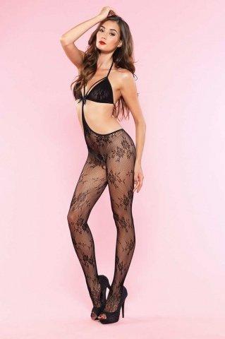 Эротический кэтсьюит с вырезом в шагу Leg Avenue, цвет Черный, размер One Size