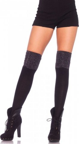 Чулки с блестящей отделкой Leg Avenue, цвет Черно-серебряный, размер One Size