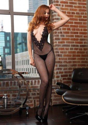 Сетка на тело с большим декольте Leg Avenue, цвет Черный, размер One Size