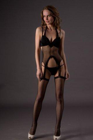 Боди с чулочками - Suspender Bodystockings (Leg Avenue), цвет Черный, размер One Size