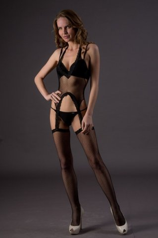 Боди с чулочками - Suspender Bodystockings (Leg Avenue), цвет Черный, размер One Size, фото 2