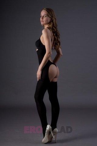 Непрозрачный комбинезон с вырезами - Leg Avenue, цвет Черный, размер One Size, фото 3