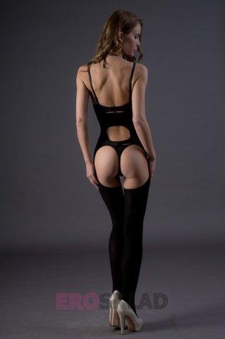 Непрозрачный комбинезон с вырезами - Leg Avenue, цвет Черный, размер One Size, фото 4