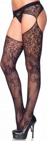 Ажурные чулки - Garterbelt stokings Leg Avenue, цвет Черный, размер One Size