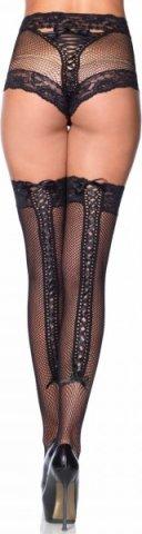 Ажурные трусики с чулками Fishnet Panty & Thigh High - Leg Avenue, цвет Черный, размер One Size