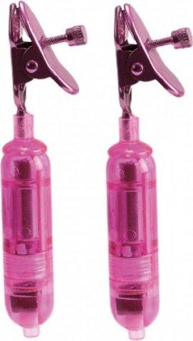 Зажимы на соски One Touch Micro Vibro Clamps с вибрирующими подвесками розовые, фото 6