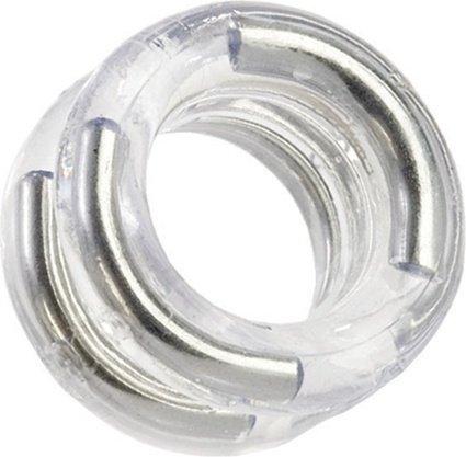 Двойное эрекционное кольцо Double Stack Ring с металлическими вставками прозрачное, фото 2
