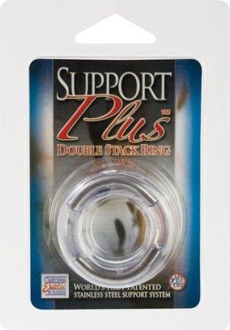 Двойное эрекционное кольцо Double Stack Ring с металлическими вставками прозрачное, фото 4