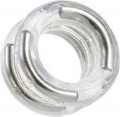 Двойное эрекционное кольцо с металлическими вставками прозрачное.