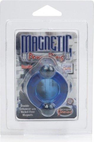 Двойное эрекционное кольцо Magnetic Power Ring с магнитами голубое, фото 3