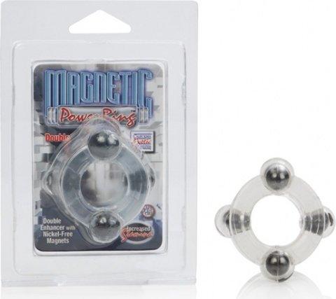 Двойное эрекционное кольцо Magnetic Power Ring с магнитами прозрачное, фото 3
