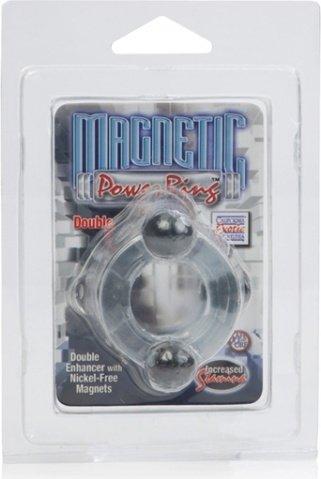 Двойное эрекционное кольцо Magnetic Power Ring с магнитами прозрачное, фото 5