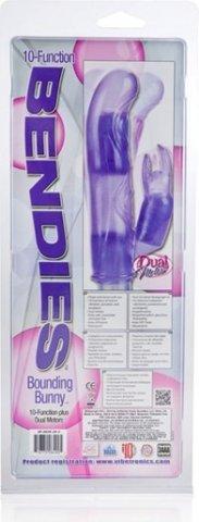 Гибкий фиолетовый вибратор с клиторальным стимулятором Bendies (10 функций), фото 13