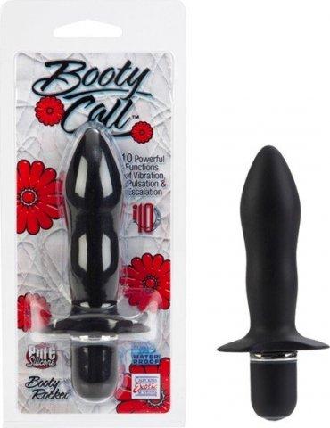 Анальная пробка Booty Call с вибрацией из силикона черная, фото 13