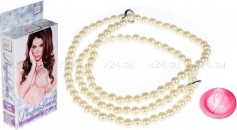 Наручники из полиэстера с жемчугом playful in pearls-pearl cuf белые, фото 2